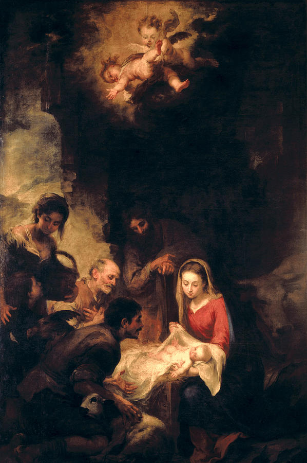 Nativity Scene Painting - Adoration of the Shepherds by Bartolome Esteban Murillo