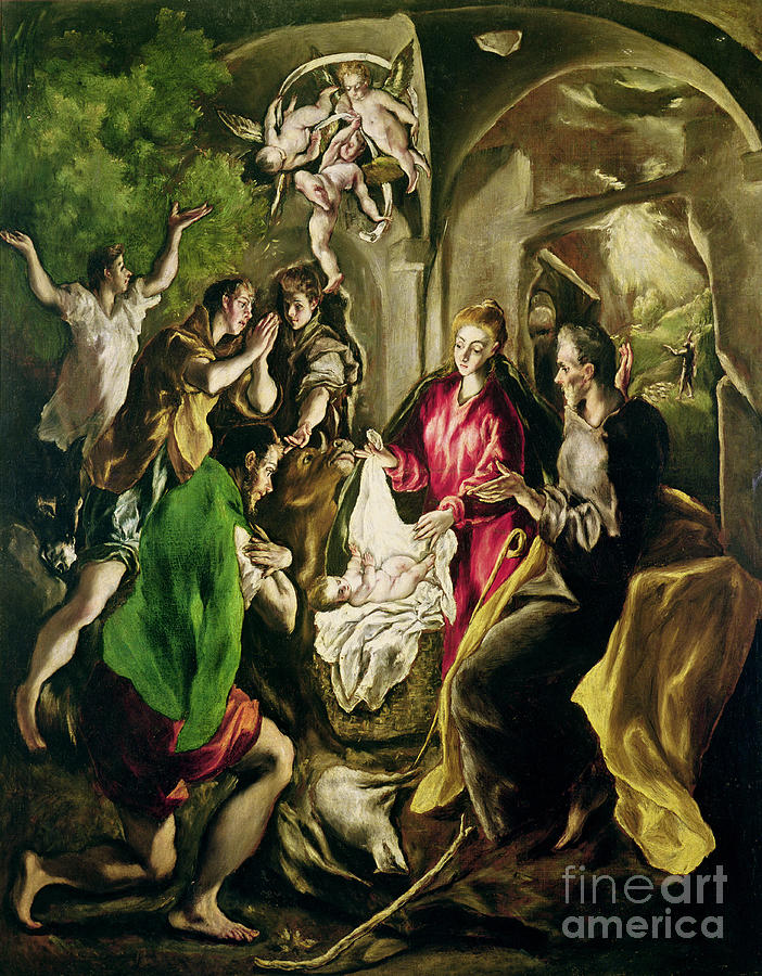 El Painting - Adoration Of The Shepherds by El Greco Domenico Theotocopuli