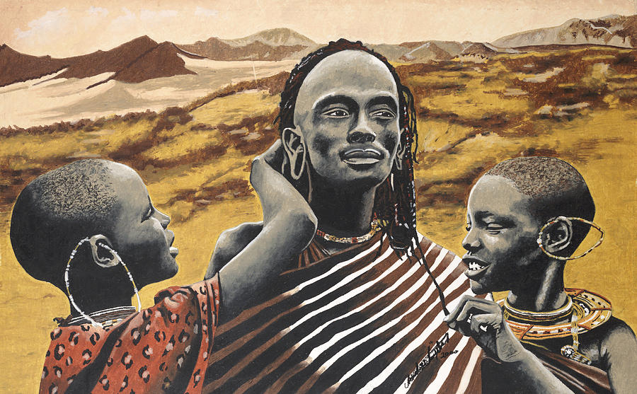 Africa Painting - Adored Warrior by Andre Ajibade