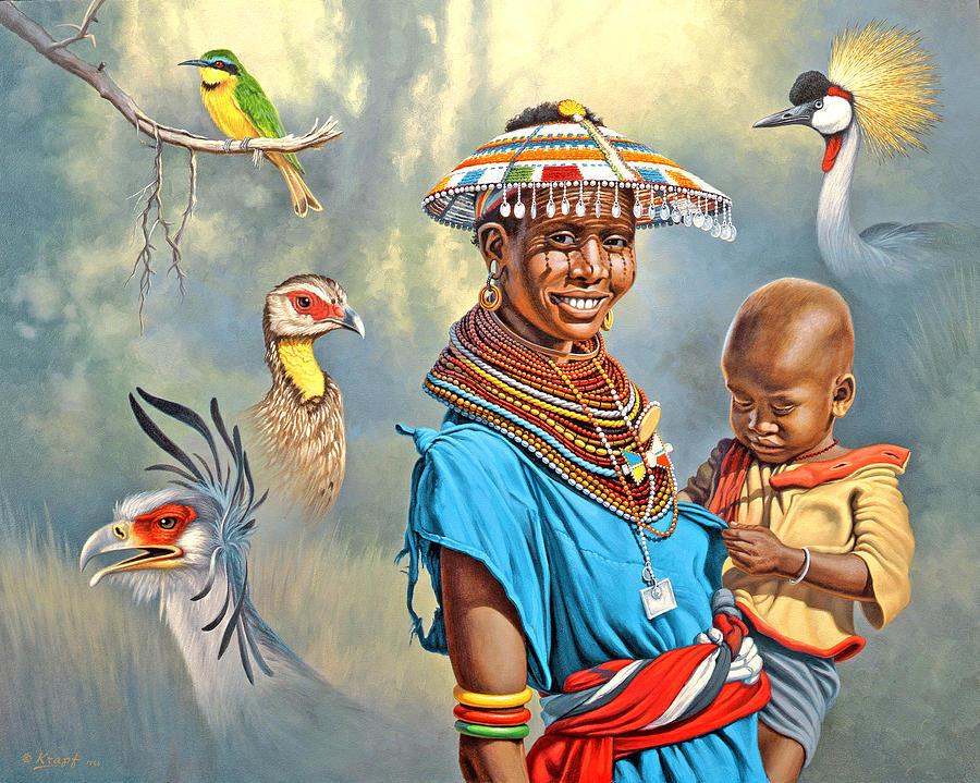 Samburu Painting - Adornments by Paul Krapf