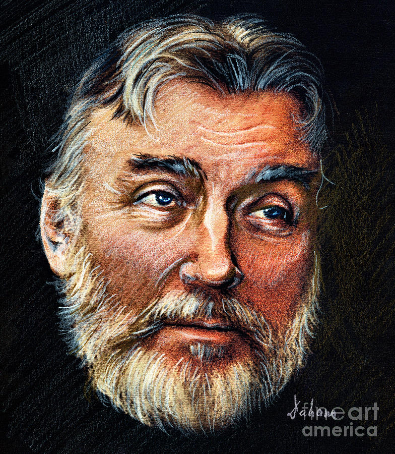 Poet Drawing - Adrian Paunescu -portrait by Daliana Pacuraru