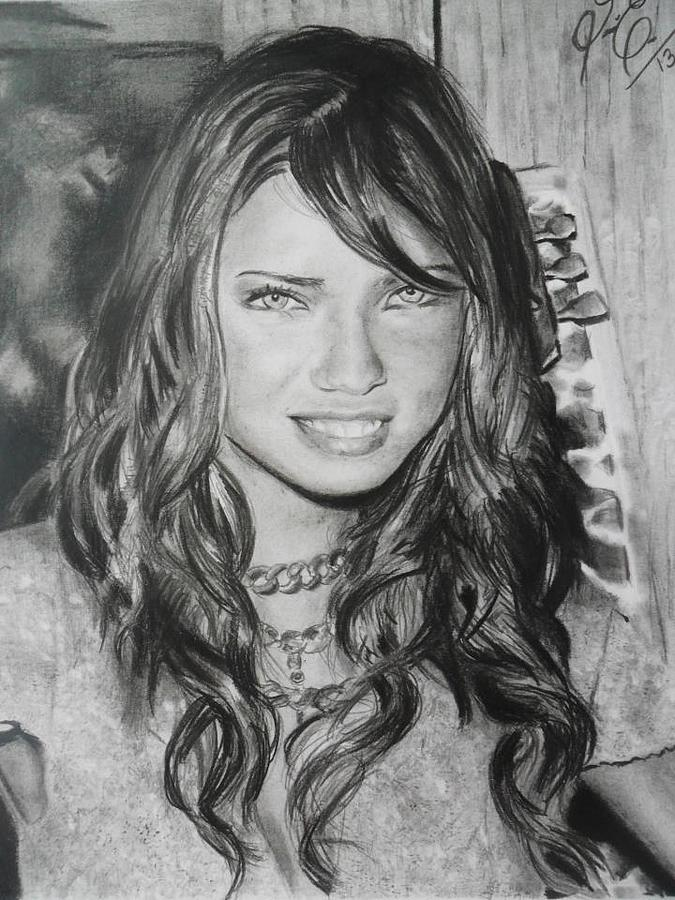 Drawing - Adriana Lima by Luis Carlos A