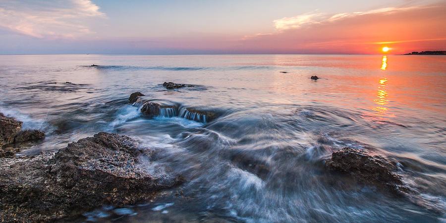 Adriatic Sunset Panorama Photograph By Davorin Mance
