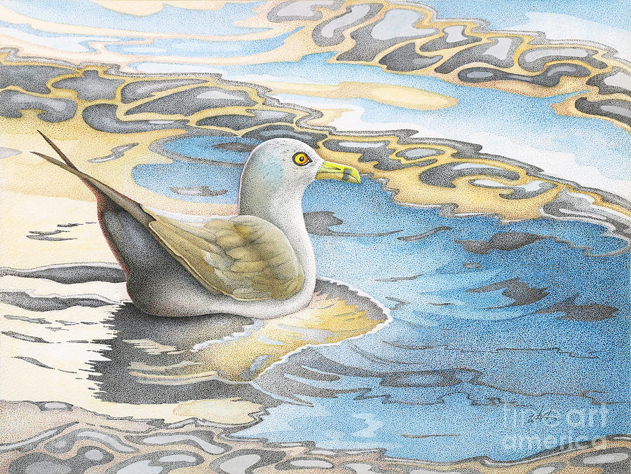 Sea Gull Painting - Adrift by Wayne Hardee