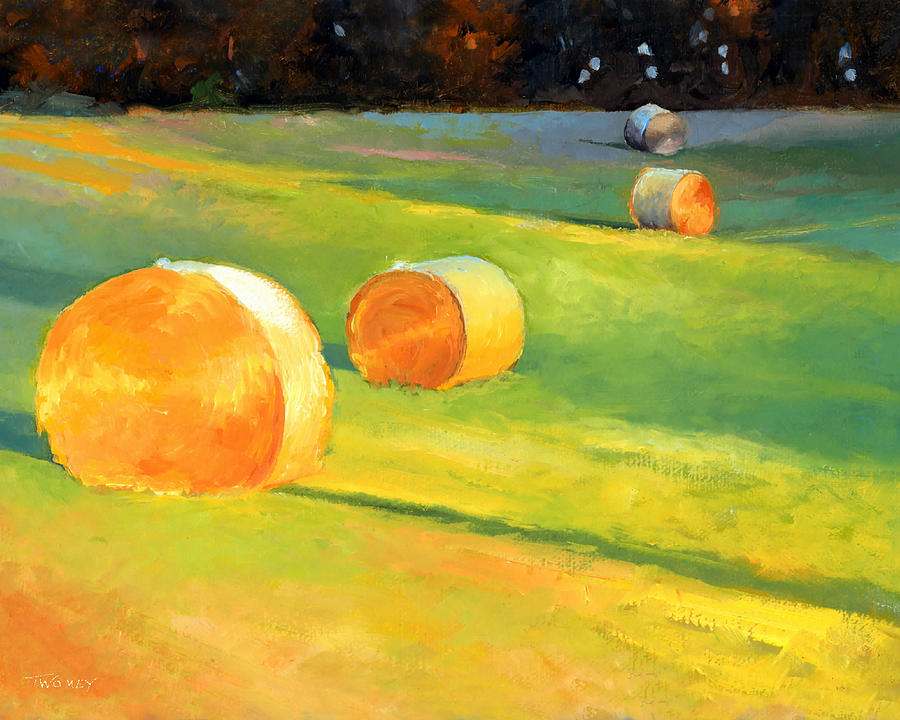 Nature Painting - Advance Mills Hall Bales by Catherine Twomey