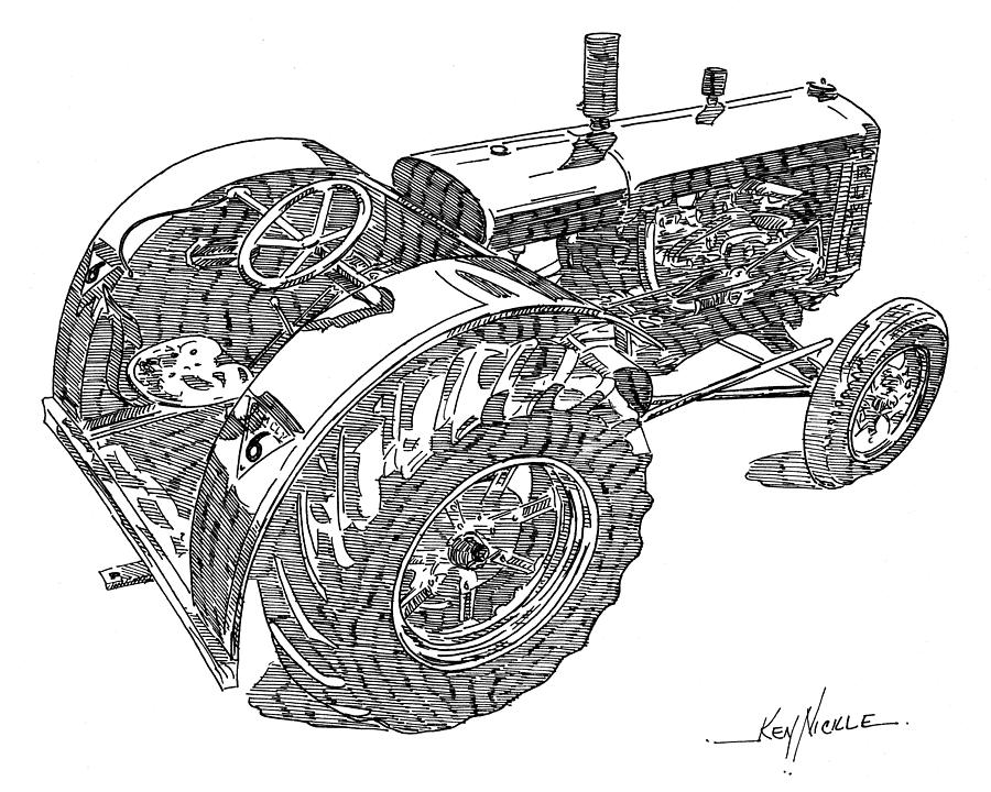 Tractor Drawing - Advance Rumely by Ken Nickle