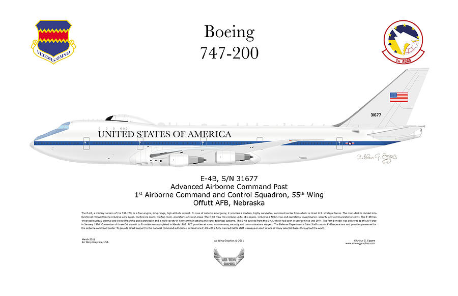 Boeing 747-200 Digital Art - Advanced Airborne Command Post by Arthur Eggers