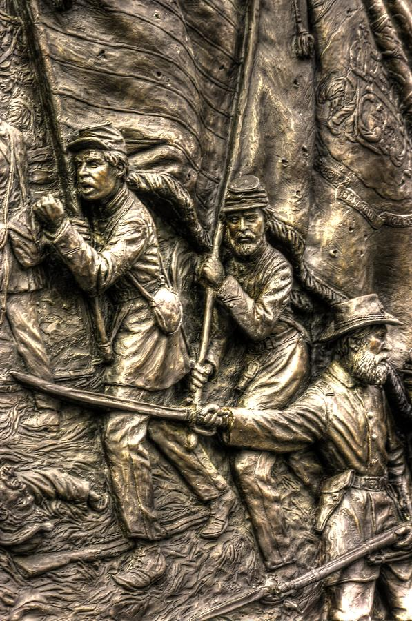 Civil War Photograph - Advancing The Colors - State Of Delaware Monument Gettysburg Detail-a Autumn Mid-day by Michael Mazaika