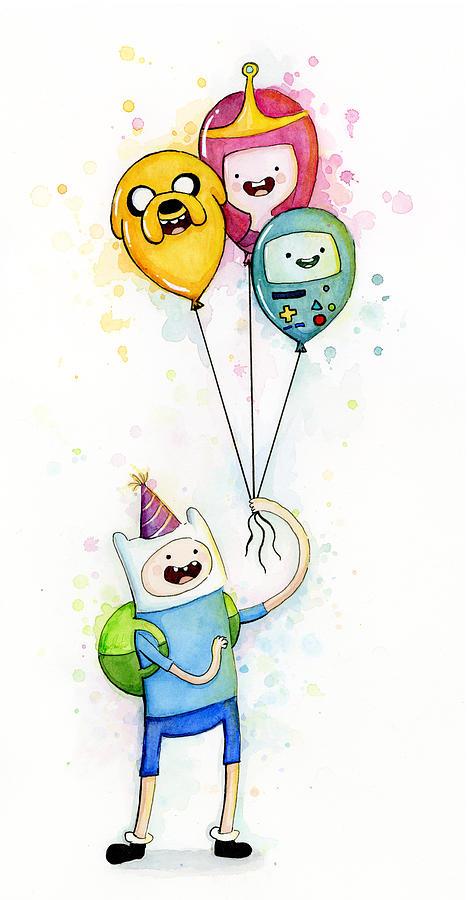 Jake Painting - Adventure Time Finn with Birthday Balloons Jake Princess Bubblegum BMO by Olga Shvartsur