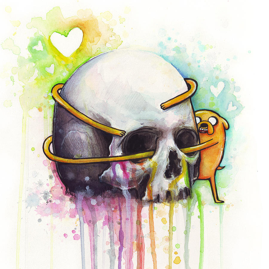 adventure time jake hugging skull watercolor art painting by olga
