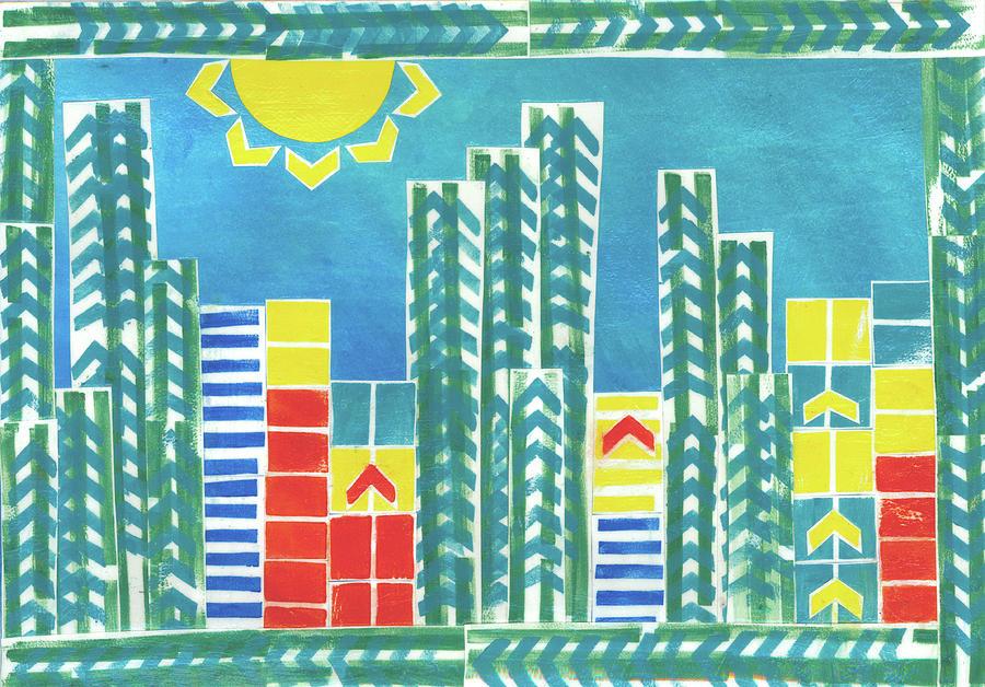 Cities Mixed Media - On The Sunnyside by Strangefire Art       Scylla Liscombe