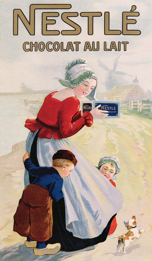 Milk Chocolate; Advert; Publicity; Vintage Poster; 1920s; 20s; Twenties; Windmill; Riverbank; River; Mother; Girl; Boy; Child; Daughter; Son; Dutch Costume; Traditional Dress; Clogs; Confectionery; Treat; Food; Children; Exciting; Excitement; Beagle; Dog; Puppy; Pet Drawing - Advertisement For Chocolat Au Lait by Anonymous
