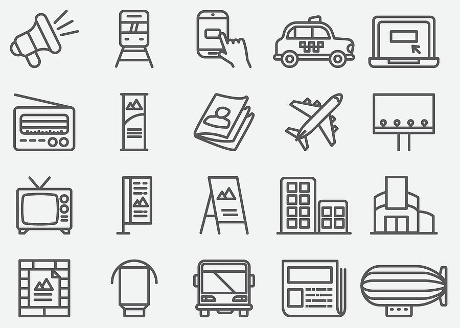 Advertising And Media Line Icons Drawing by LueratSatichob