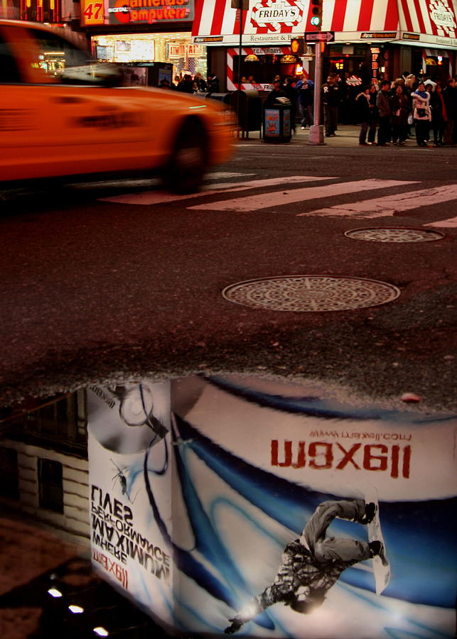 New York City Photograph - Advertising Puddles by Karol Livote