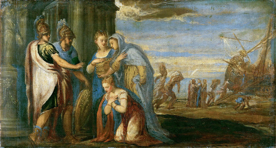 Aeneas Taking Leave Of Dido Painting By Andrea Schiavone