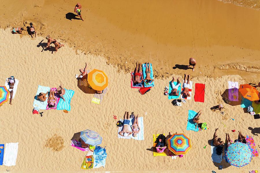 Aerial, Albufeira Beach, Algarve Photograph by John Harper