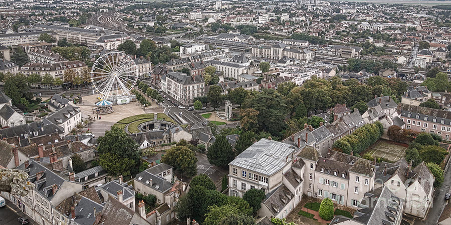 France Photograph - Aerial Chartres by Olivier Le Queinec
