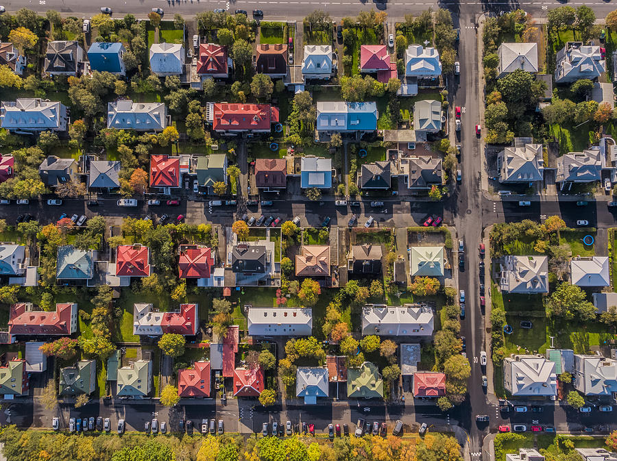 Aerial - Colorful Roof tops, Reykjavik, Iceland Photograph by Arctic-Images