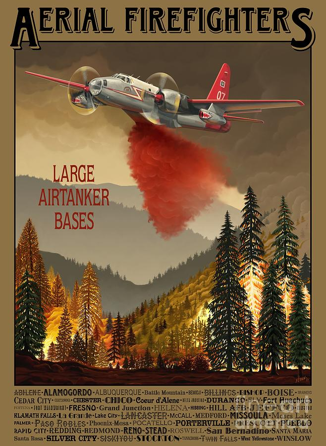 Air Tanker Painting - Aerial Firefighters Large Airtanker Bases by Airtanker Art