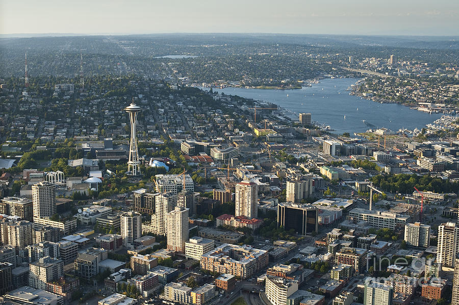 Lake Union Photograph - Aerial Image Of The Seattle Skyline  by Jim Corwin