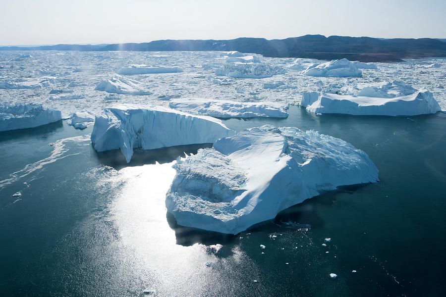 Aerial Of Icebergs Of Ilulissat Photograph by Holger Leue