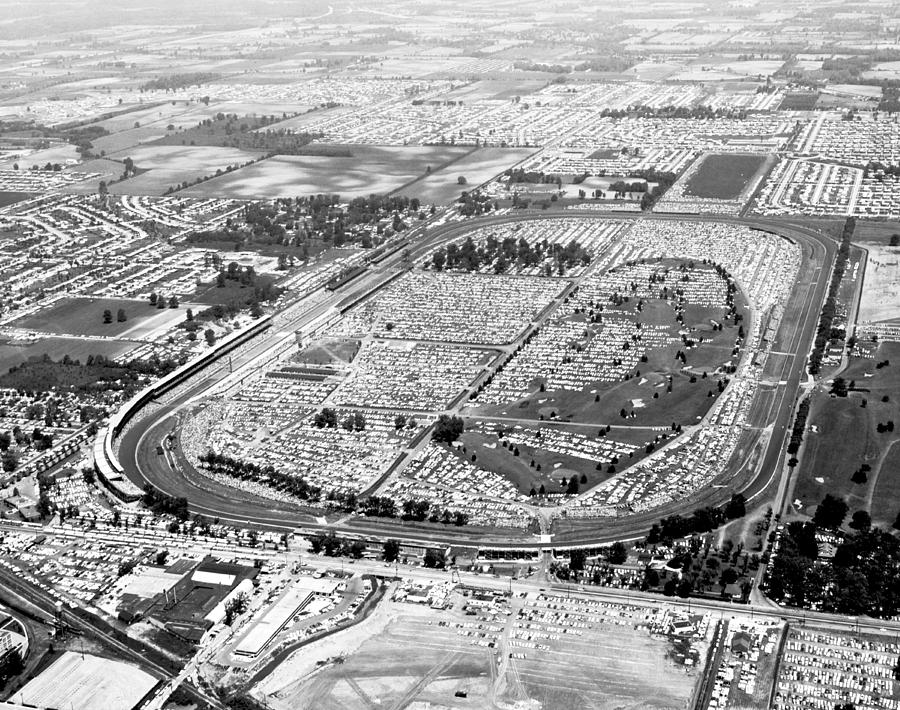 1950's Photograph - Aerial Of Indy 500 by Underwood Archives