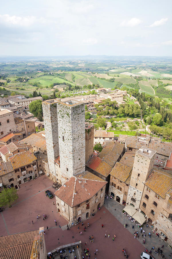 Aerial Of  Old Town Of San Gimignano Photograph by Matteo Colombo