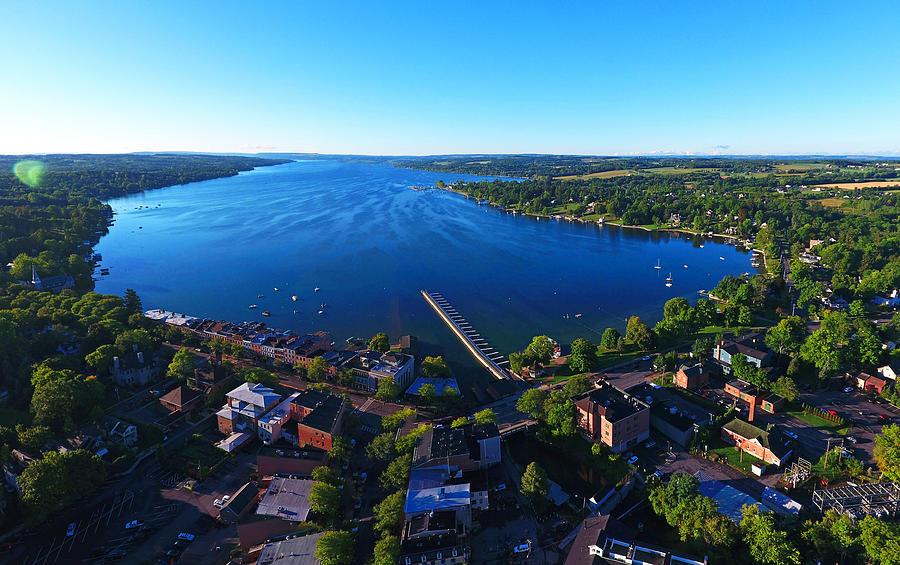 Aerial of Skaneateles Lake and Village Photograph by Matt Champlin