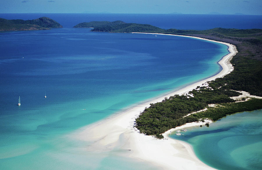 Aerial Of Whitehaven Beach Photograph by Holger Leue