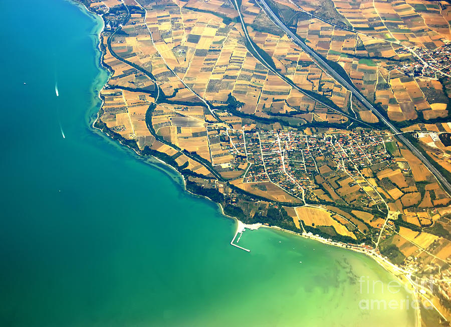 Aerial Photograph - Aerial photography - Italy coast by Justyna Jaszke JBJart
