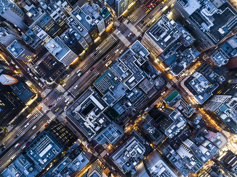 Aerial shots of buildings and rooftops. Photograph by Michael H