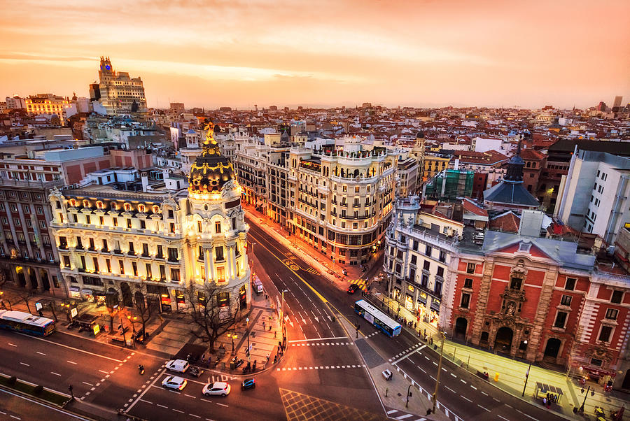 Aerial view and skyline of Madrid at dusk. Spain. Europe Photograph by Eloi_Omella