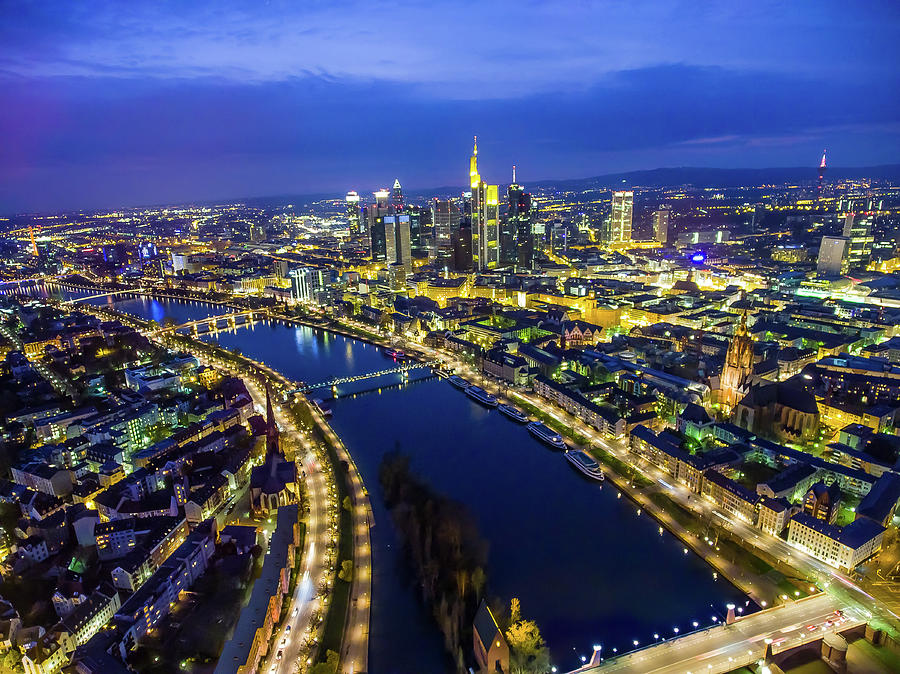 Aerial View. Germany, Frankfurt, River Photograph by Malorny