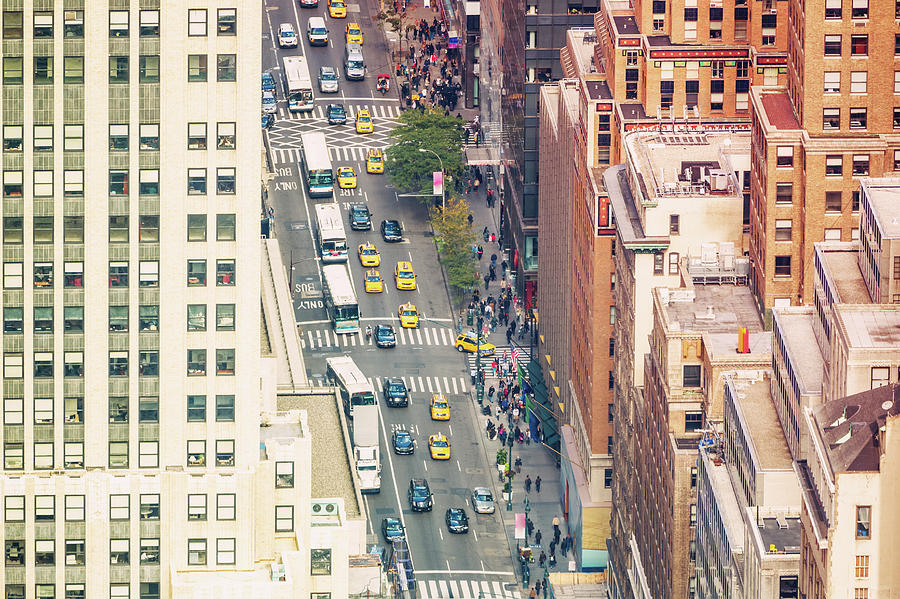 Aerial View New York City Street Life Photograph by Mlenny