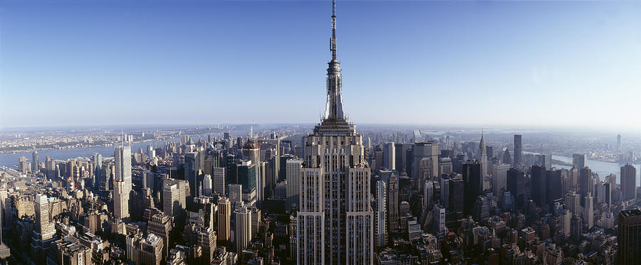 Color Image Photograph - Aerial View Of A Cityscape, Empire by Panoramic Images