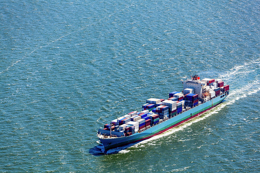 Aerial View Of A Container Ship Photograph by Opla