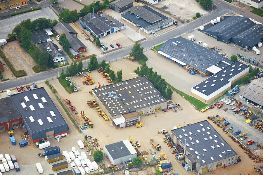 Aerial View Of A Crowded Industry Zone Photograph by J-elgaard