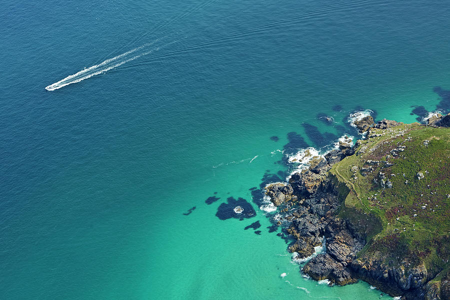 Aerial View Of Boat Off Cornish Photograph by Allan Baxter