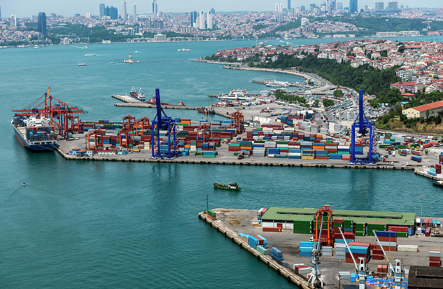 Aerial View Of Container Port And Ship Photograph by Omersukrugoksu