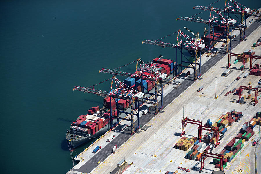 Aerial View Of Container Ship Moored At Photograph by Echo