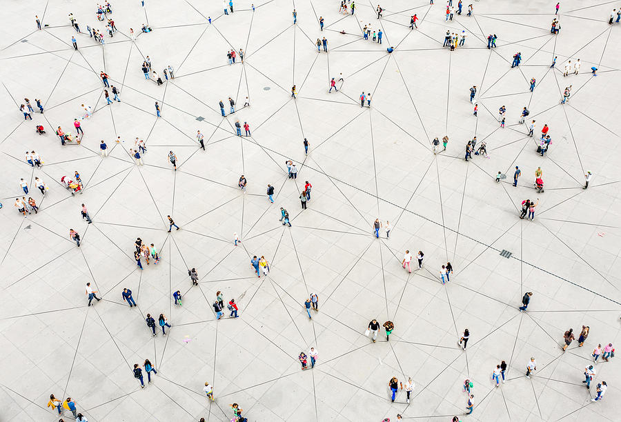 Aerial view of crowd connected by lines Photograph by  Orbon Alija