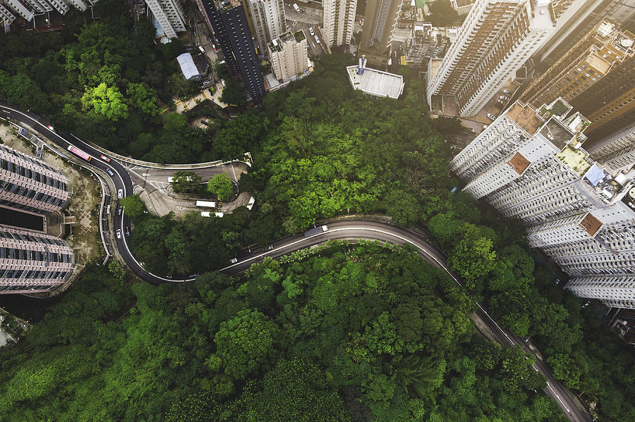 Aerial view of curve road in forest against buildings in Hong Kong Photograph by Kiyoshi Hijiki