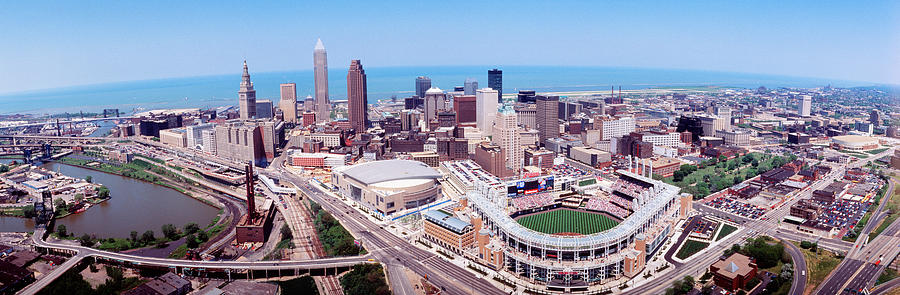 Color Image Photograph - Aerial View Of Jacobs Field, Cleveland by Panoramic Images