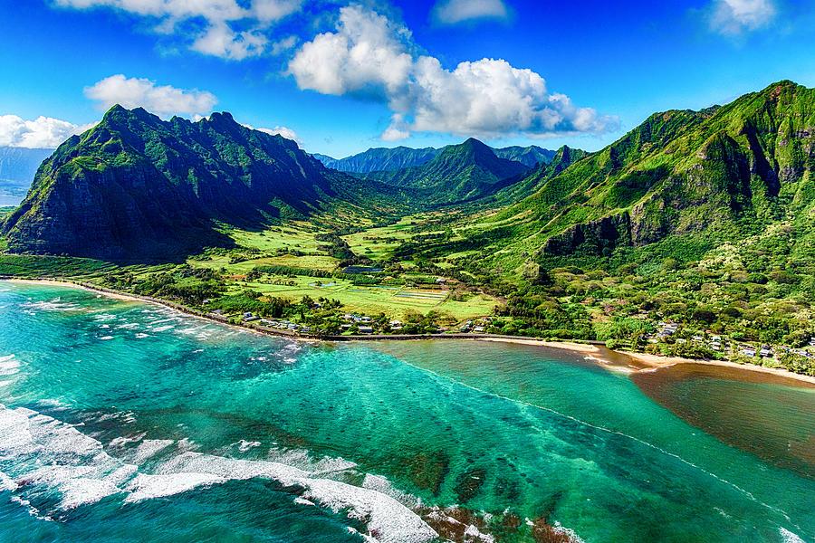Aerial View of Kualoa area of Oahu Hawaii Photograph by Art Wager
