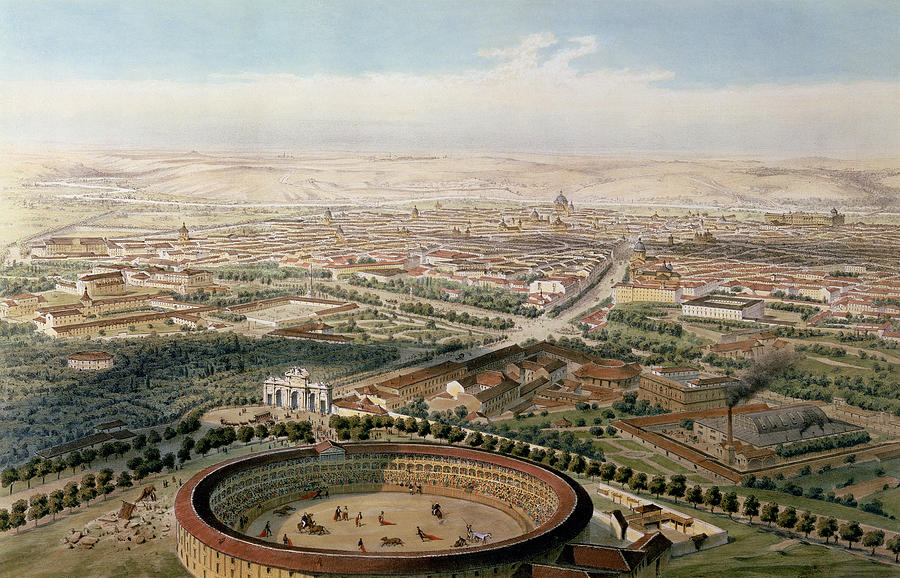 Bullring Painting - Aerial View Of Madrid From The Plaza De Toros by Alfred Guesdon