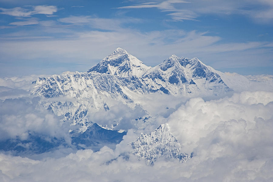 Everest Photograph - Aerial View Of Mount Everest by Hitendra SINKAR