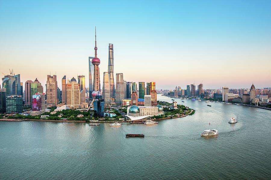 Aerial View Of Shanghai Photograph by Fei Yang