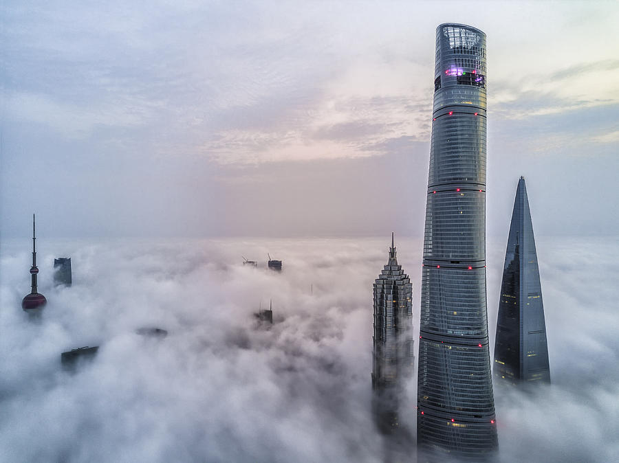 Aerial View of Shanghai Lujiazui Financial District in Fog Photograph by Jackal Pan