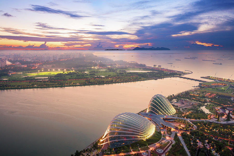 Aerial View Of Singapore With Sunset Photograph by Loveguli