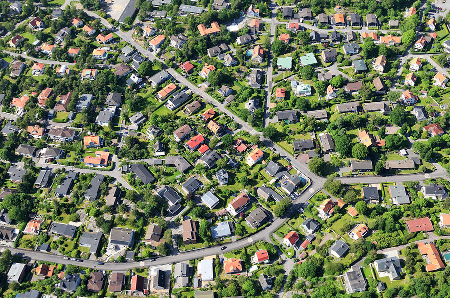 Aerial View Of Suburb Photograph by Johner Images